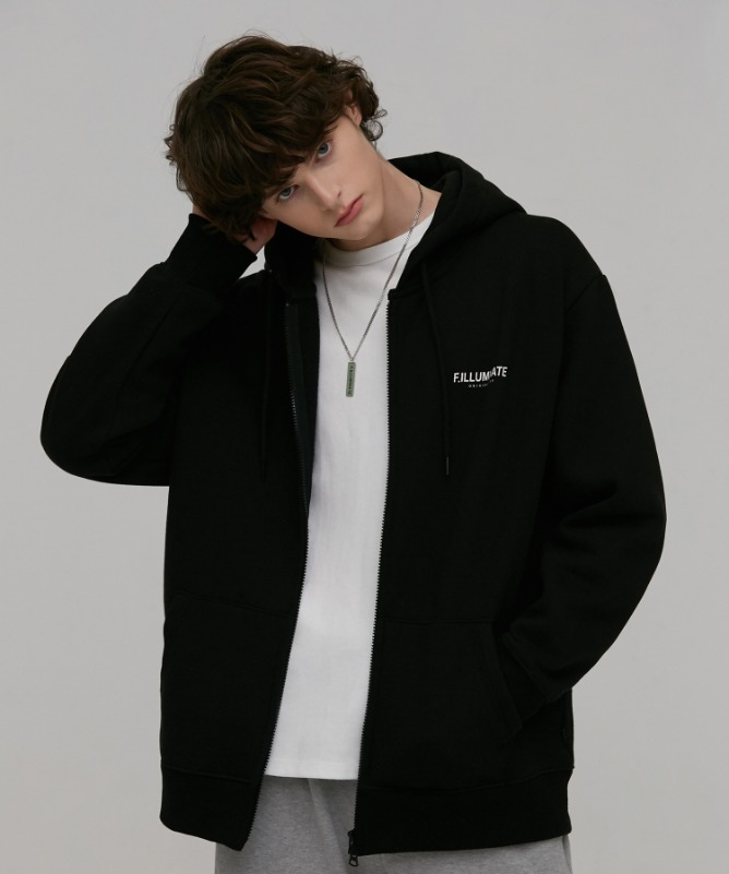 Unisex Celeb Hood Zip Up-Black-F.ILLUMINATE