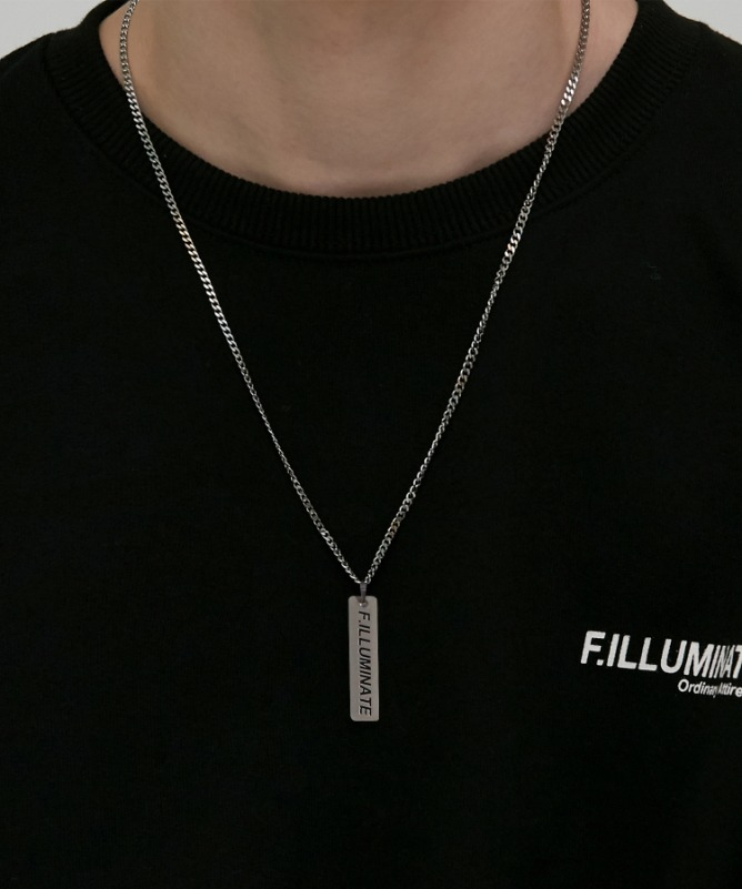 Unisex Rectangle Logo Necklace-Silver-F.ILLUMINATE