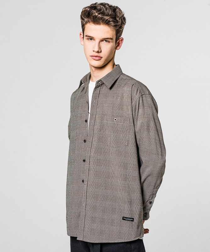 Unisex Regularfit Gentry Check Shirt-Beige-F.ILLUMINATE