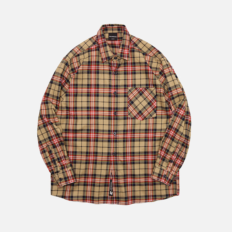 UNISEX Treasure Check Shirt-Beige-F.ILLUMINATE