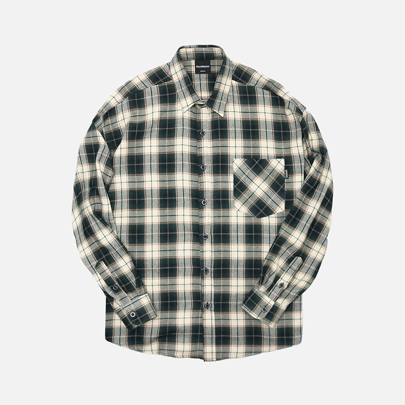 UNISEX Overfit Stellar Check Shirt-Green-F.ILLUMINATE