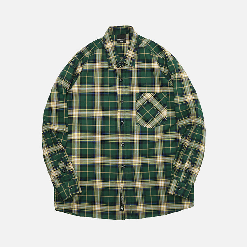 UNISEX Treasure Check Shirt-Green-F.ILLUMINATE
