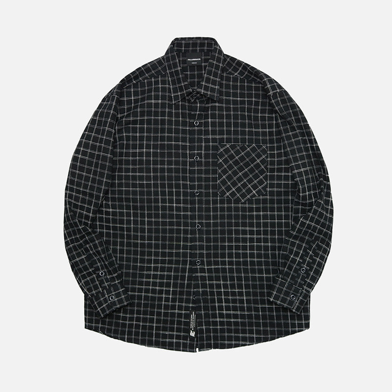 UNISEX Stone Check Shirt-Black-F.ILLUMINATE