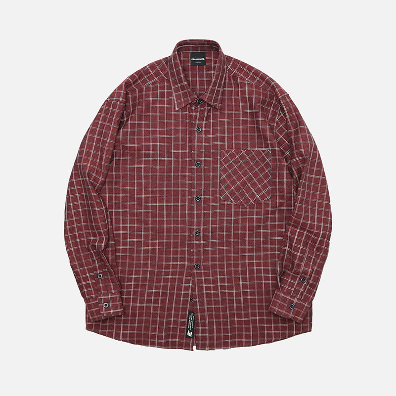 UNISEX Stone Check Shirt-Wine-F.ILLUMINATE