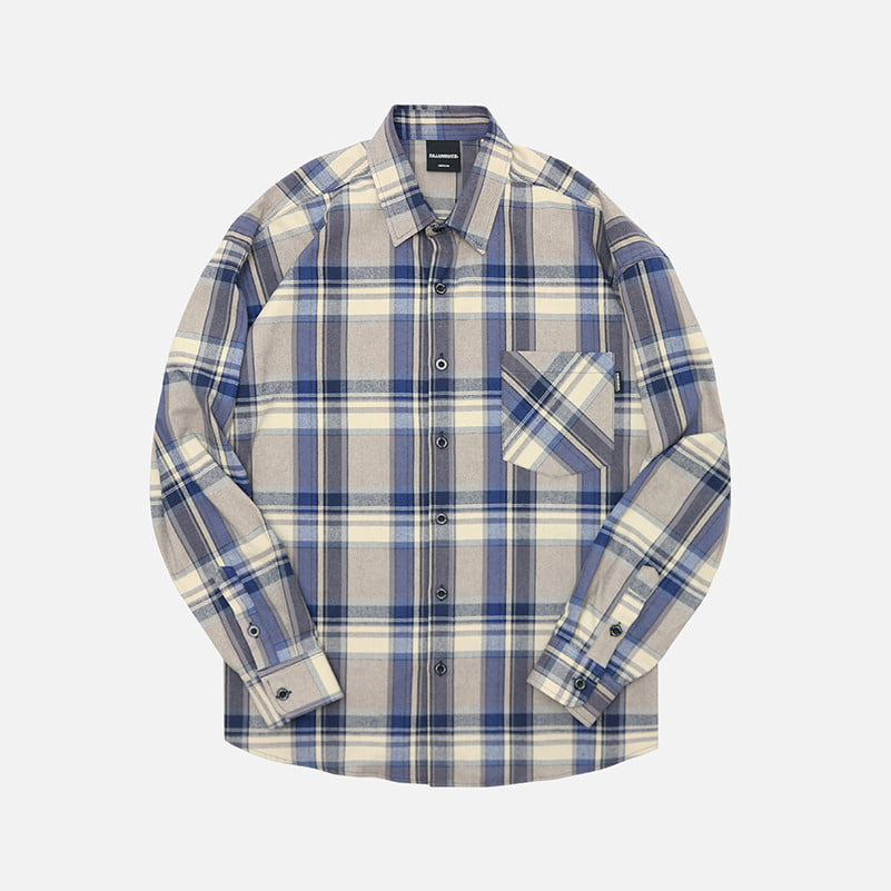 UNISEX Overfit Charming Check Shirt-Blue-F.ILLUMINATE