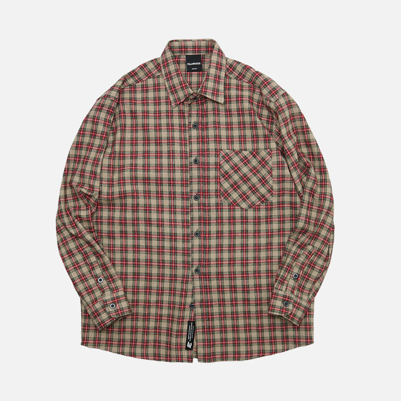 UNISEX Marvelous Check Shirt-Beige-F.ILLUMINATE
