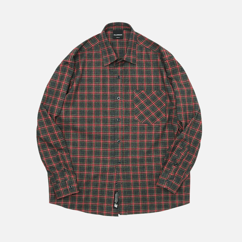 UNISEX Marvelous Check Shirt-Charcoal-F.ILLUMINATE