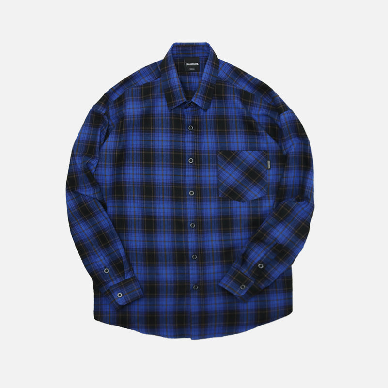 UNISEX Overfit Berry Check Shirt-Blue-F.ILLUMINATE