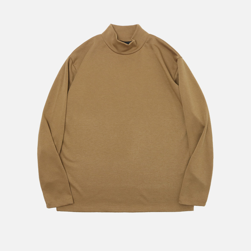 UNISEX Basic Half Poloneck-Brown-F.ILLUMINATE