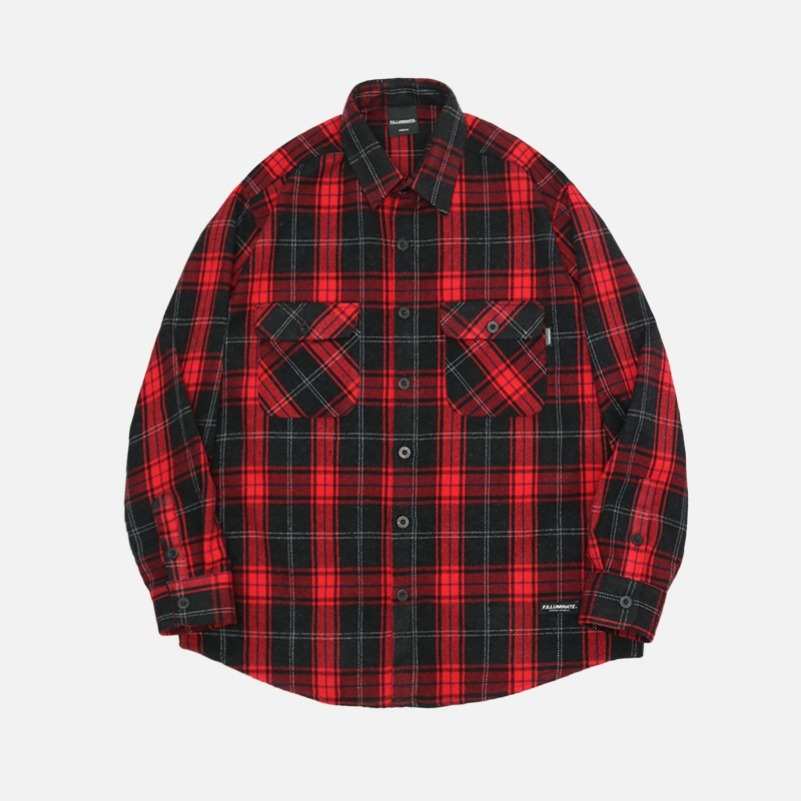 UNISEX Eve Check Shirt Jacket-Red-F.ILLUMINATE