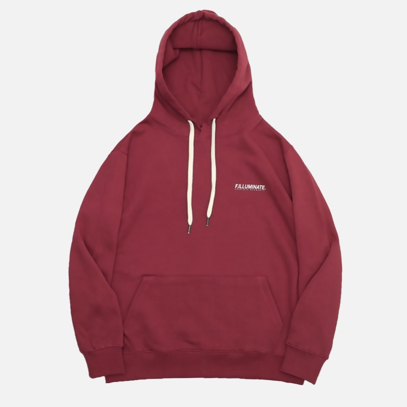 UNISEX Typo Logo Hoodie-Dark Red-F.ILLUMINATE