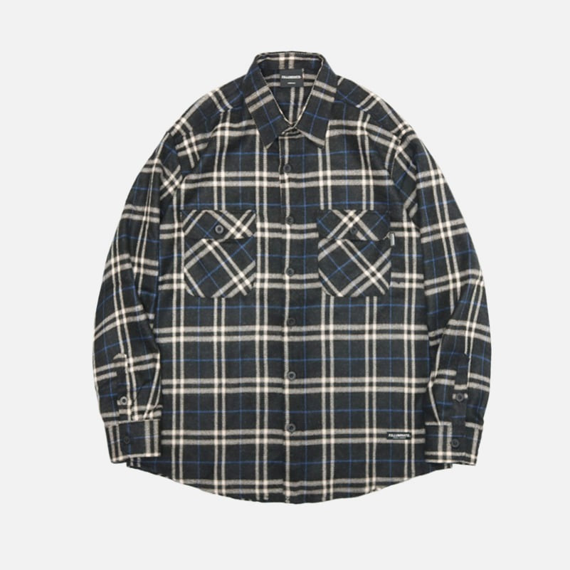 UNISEX Rode Check Shirt Jacket-Blue-F.ILLUMINATE
