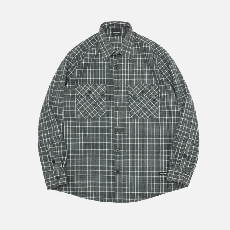 UNISEX Olsen Check Shirt Jacket-Grey-F.ILLUMINATE