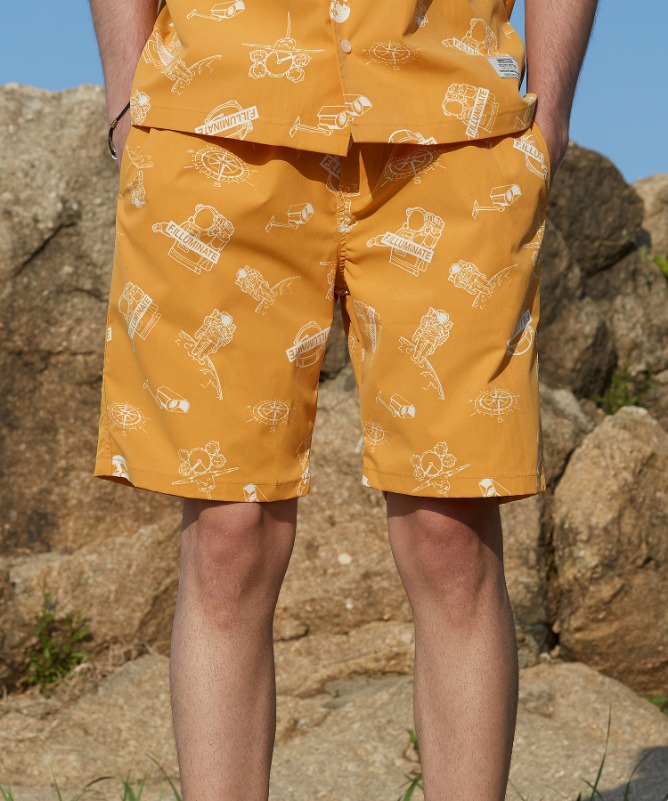 Unisex Space Logo Shorts-Yellow-F.ILLUMINATE