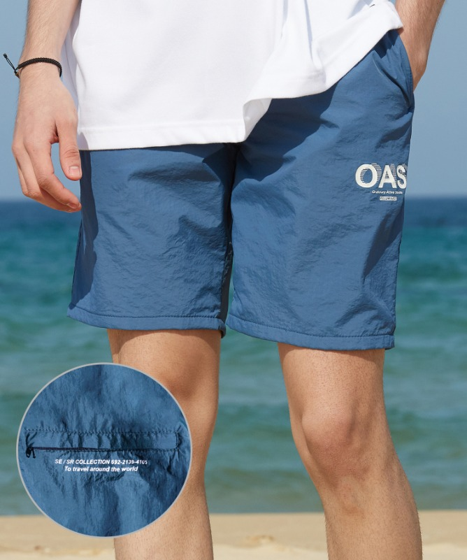 Unisex OAS Logo Swim Shorts-Blue-F.ILLUMINATE