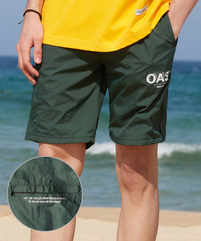 Unisex OAS Logo Swim Shorts-Green-F.ILLUMINATE