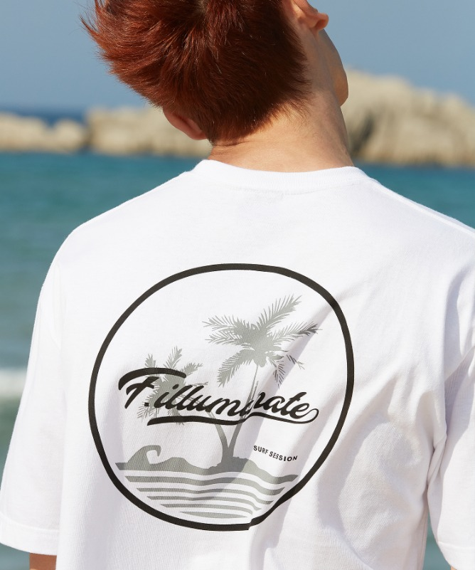 Unisex Beach Logo Tee-White-F.ILLUMINATE