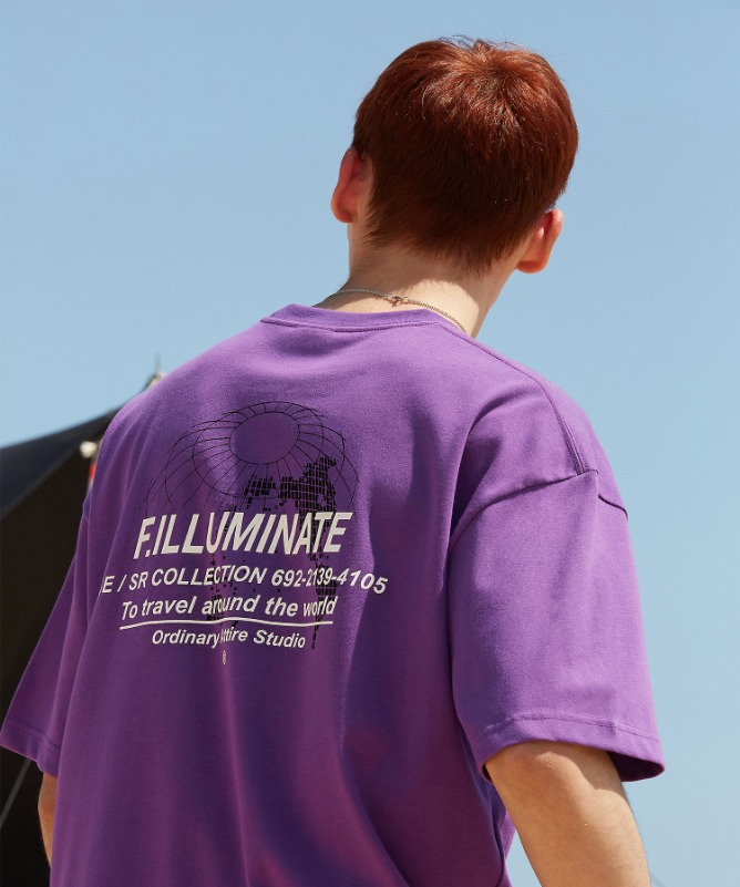 Unisex Overfit Earthnet Logo Tee-Purple-F.ILLUMINATE