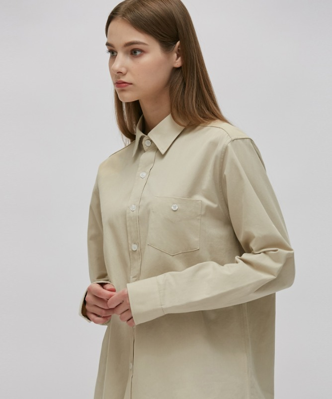 Unisex Urbane Basic Shirt-Beige-F.ILLUMINATE