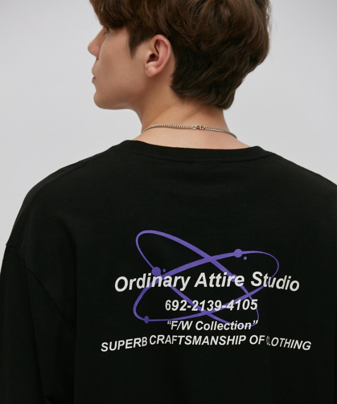 Unisex Overfit Galaxy Logo Tee-Black-F.ILLUMINATE