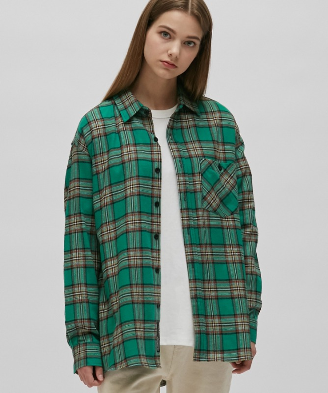 Unisex Frank Check Shirt-Mint-F.ILLUMINATE