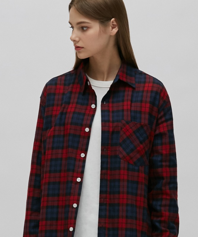 Unisex Purse Check Shirt-Red-F.ILLUMINATE