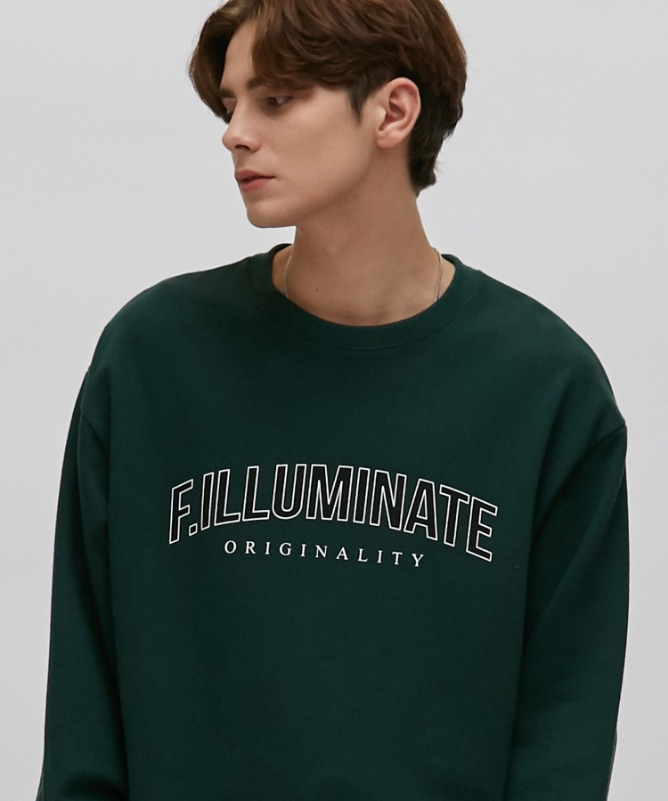 Unisex Standard Logo Sweat Shirt-Green-F.ILLUMINATE