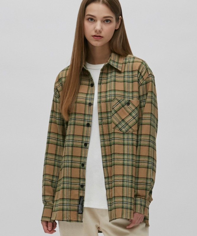 Unisex Frank Check Shirt-Beige-F.ILLUMINATE