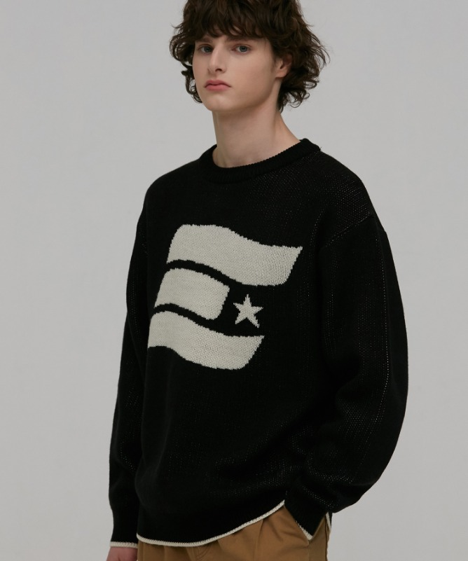 Unisex Symbol Solid Sweater-Black-F.ILLUMINATE