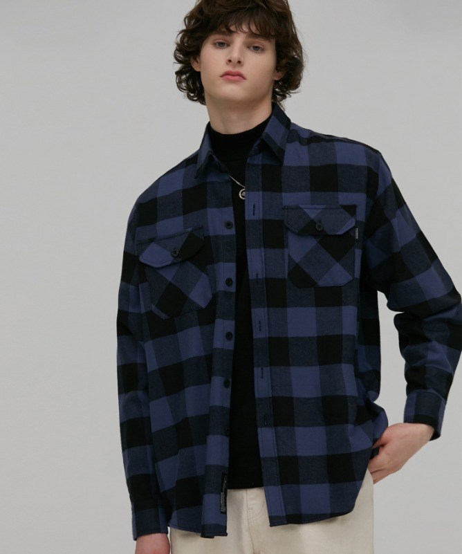 Unisex Move Check Pocket Shirt-Blue-F.ILLUMINATE