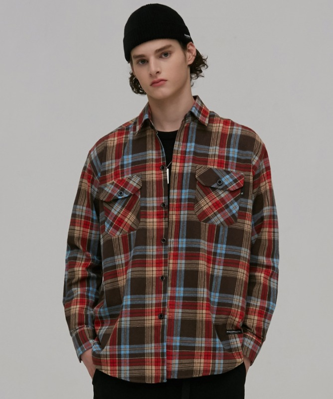 Unisex Fudge Check Pocket Shirt-Brown-F.ILLUMINATE