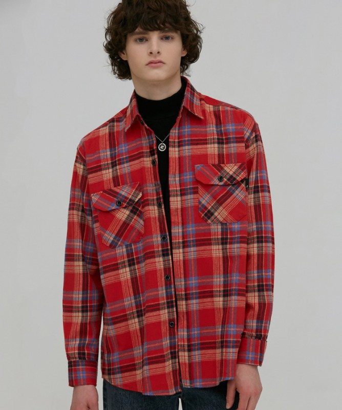 Unisex Fudge Check Pocket Shirt-Pink-F.ILLUMINATE
