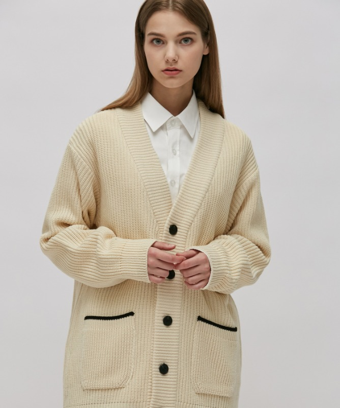 Unisex Line Point Cardigan-Ivory-F.ILLUMINATE