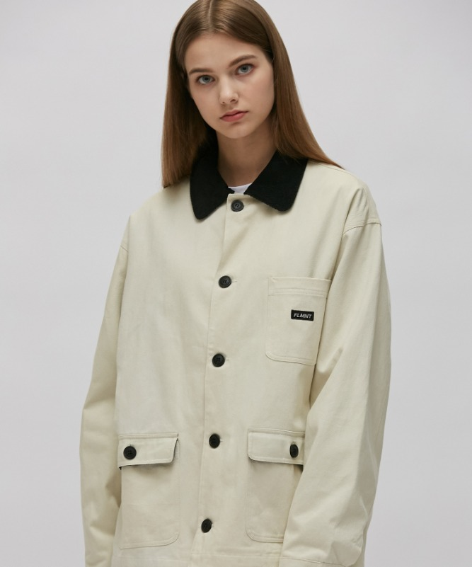 Unisex Point Color Hunting Jacket-Ivory-F.ILLUMINATE