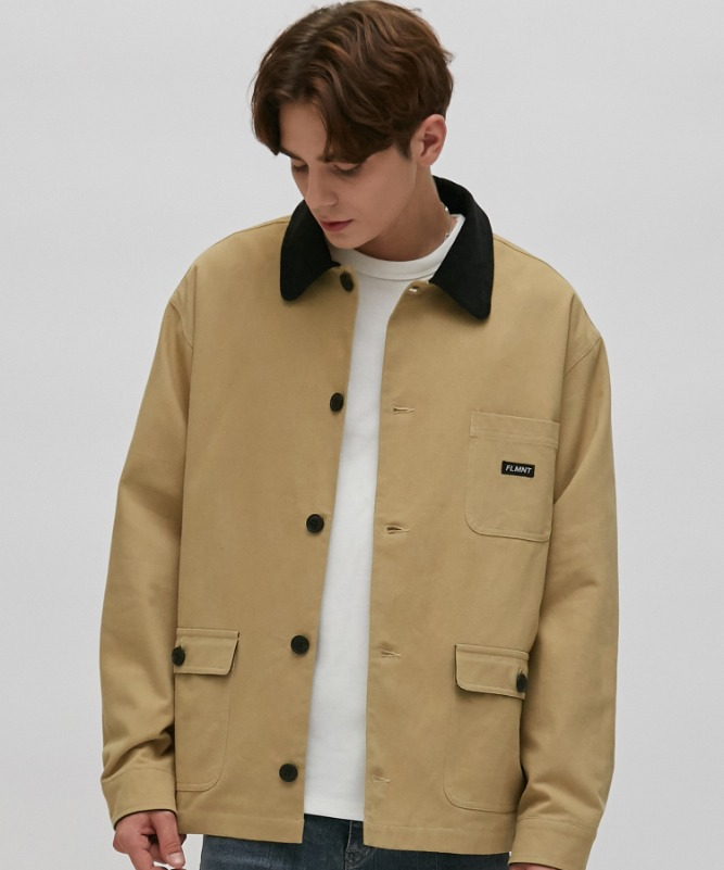 Unisex Point Color Hunting Jacket-Beige-F.ILLUMINATE
