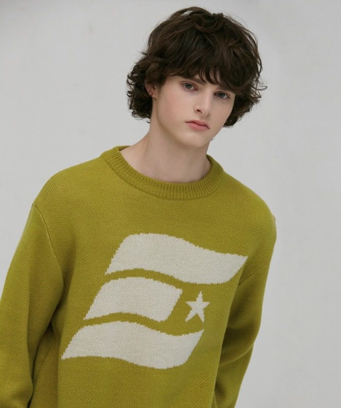Unisex Symbol Solid Sweater-Olive Green-F.ILLUMINATE