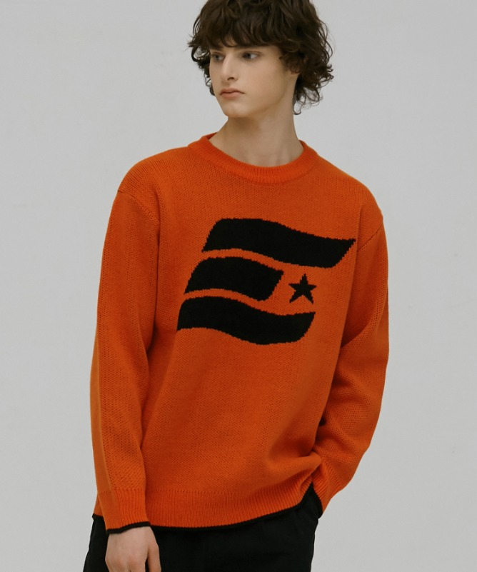 Unisex Symbol Solid Sweater-Orange-F.ILLUMINATE