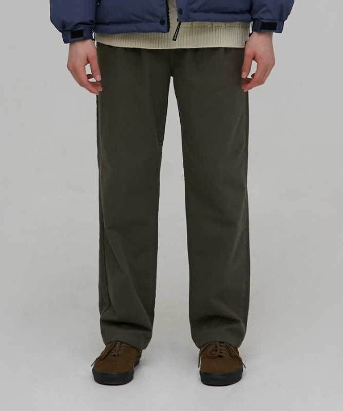 Unisex Slub Cotton Wide Pants-Khaki-F.ILLUMINATE