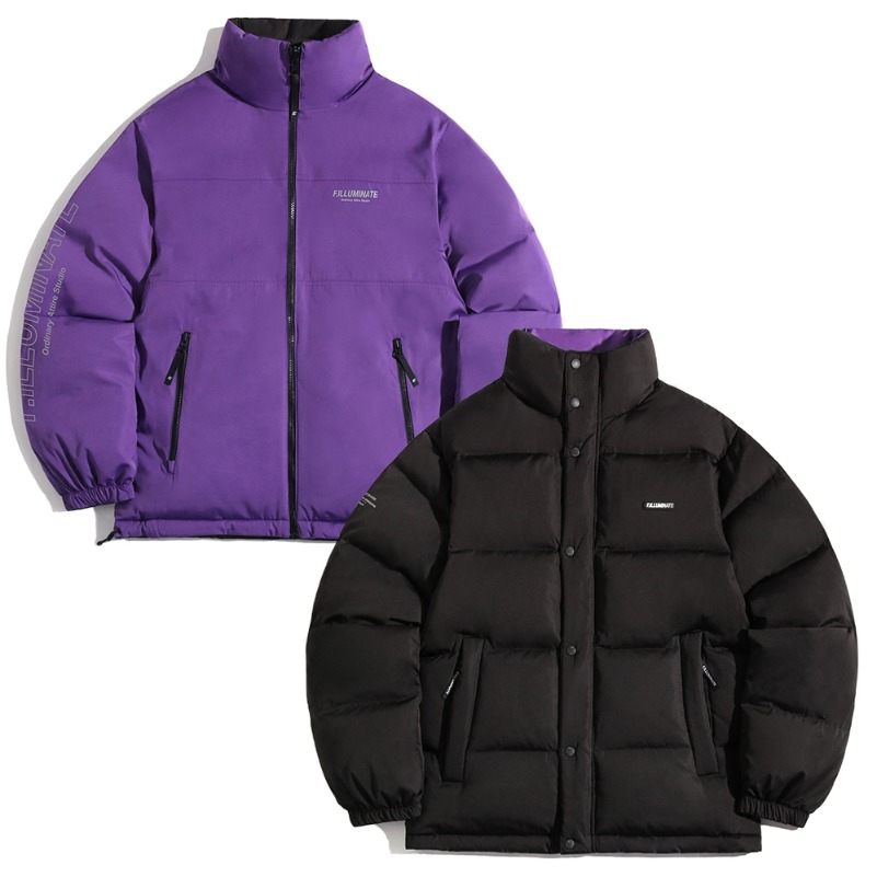 Unisex Reversible Duck Down Short Puffer-Black/Purple-F.ILLUMINATE