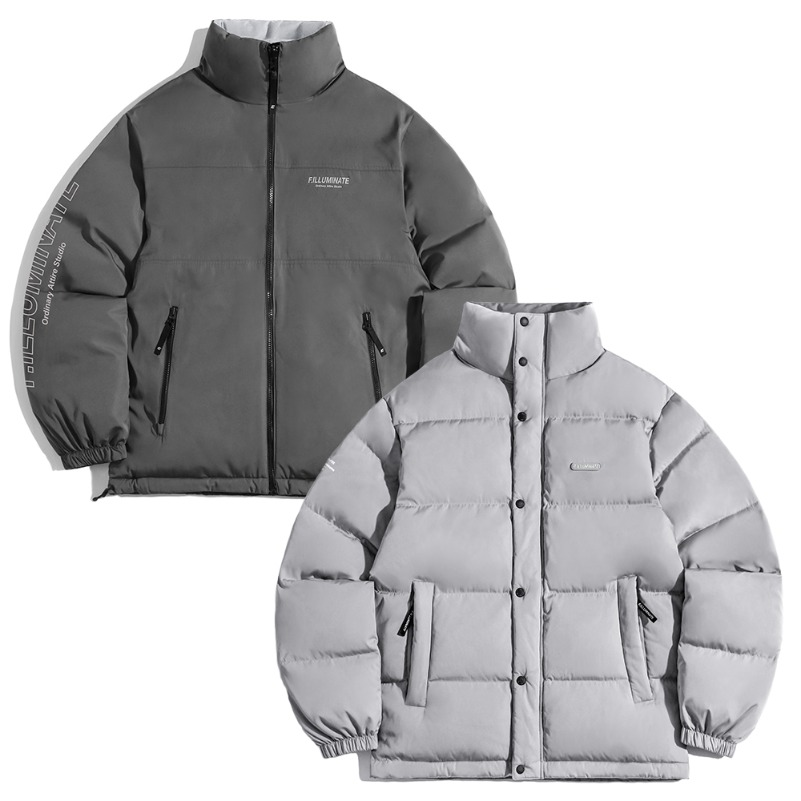 Unisex Reversible Duck Down Short Puffer-Grey/Charcoal-F.ILLUMINATE