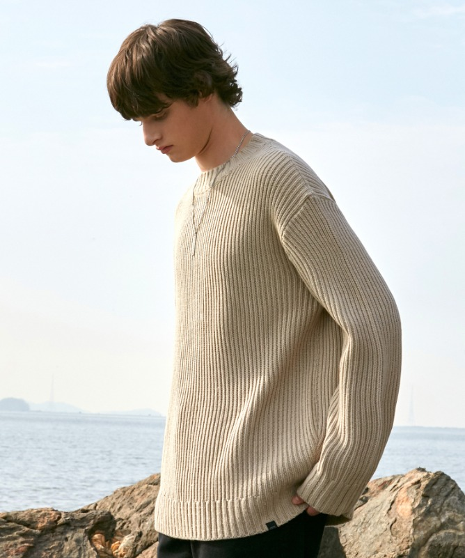Unisex Straight Round Knit-Beige-F.ILLUMINATE
