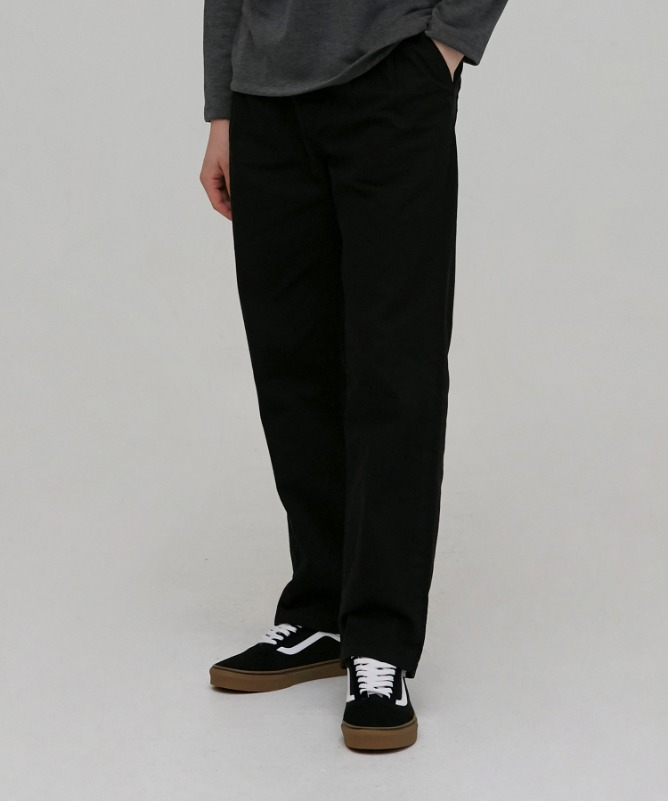 Unisex Slub Cotton Wide Pants-Black-F.ILLUMINATE