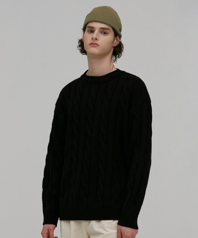 Unisex Vine Round Neck Knit-Black-F.ILLUMINATE