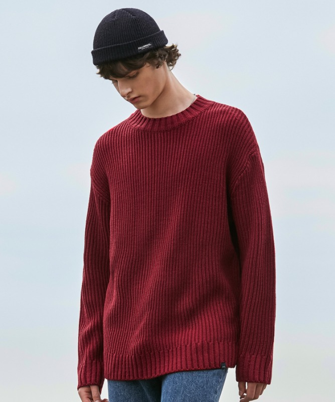 Unisex Straight Round Knit-Red-F.ILLUMINATE