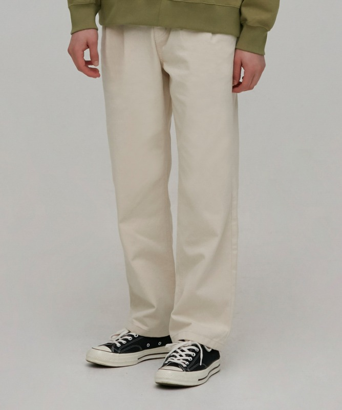 Unisex Slub Cotton Wide Pants-Cream-F.ILLUMINATE
