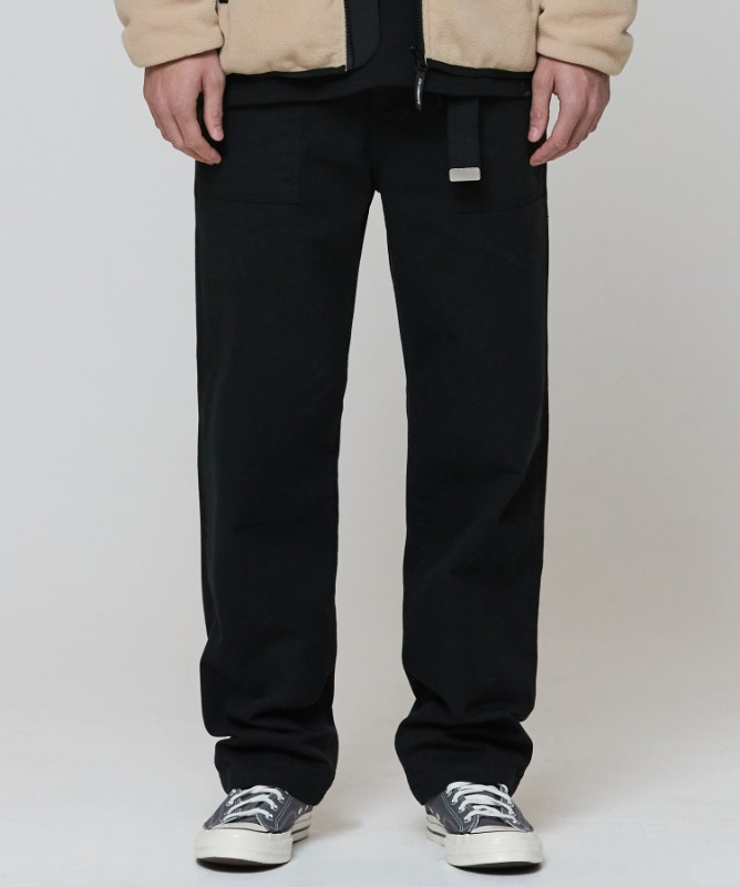 Unisex Widefit Cotton Fatigue Pants-Black  1월 22일 예약 배송-F.ILLUMINATE