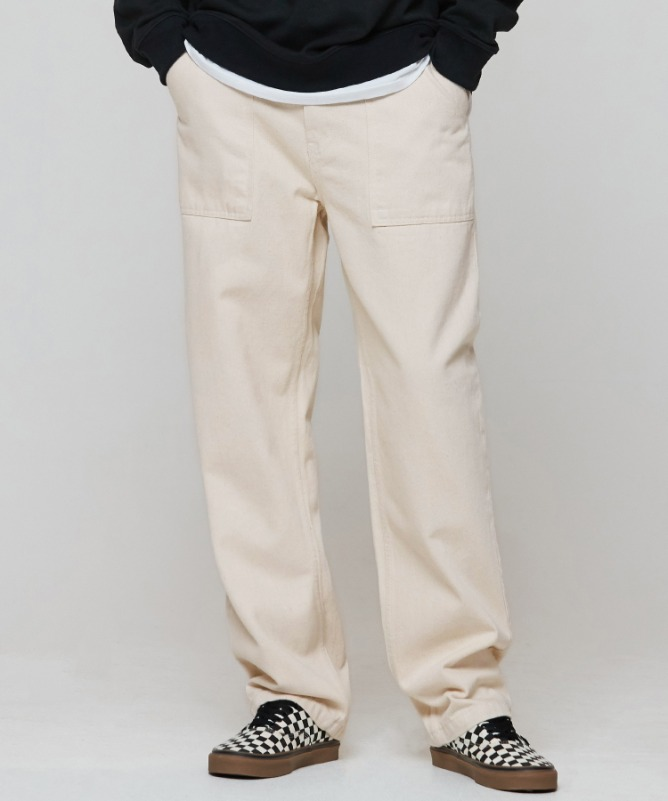 Unisex Widefit Cotton Fatigue Pants-Cream  1월 22일 예약 배송-F.ILLUMINATE