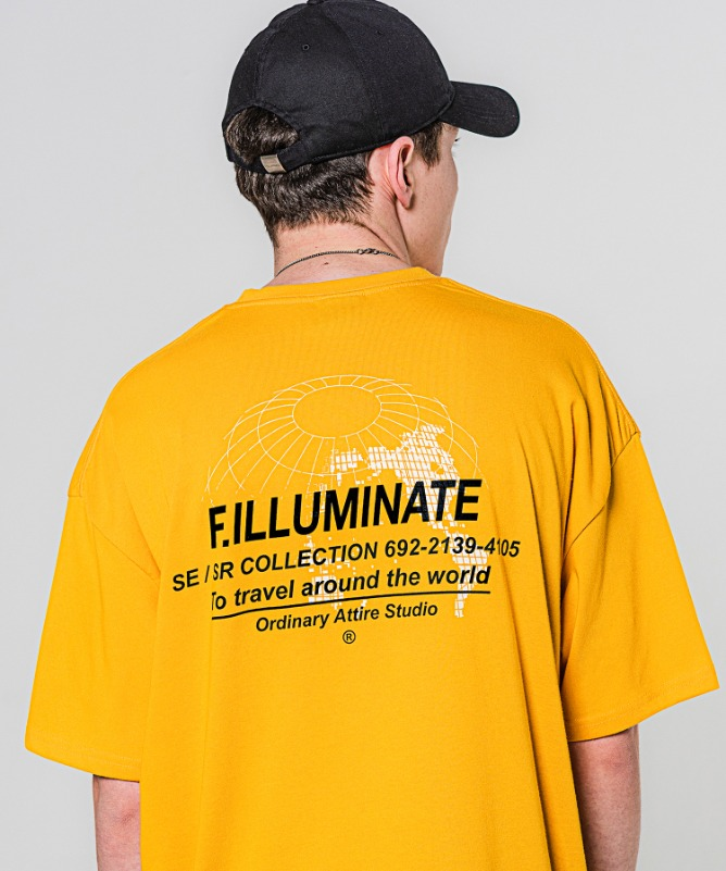 Unisex Overfit Earthnet Logo Tee-Yellow-F.ILLUMINATE